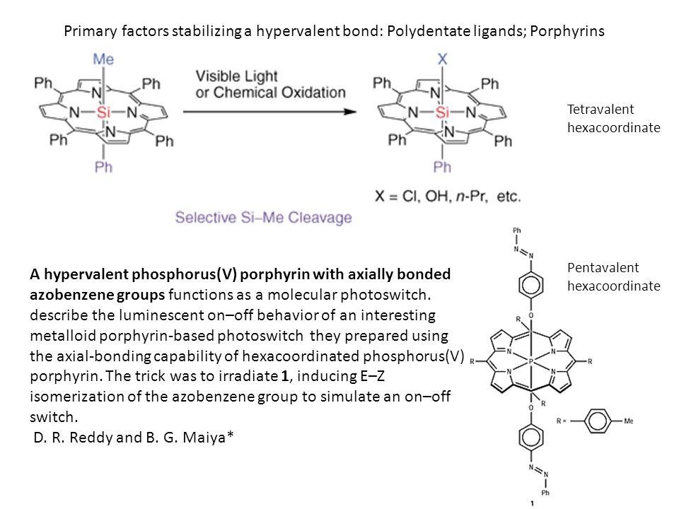 Primary factors stabilizing a hypervalent bond: Polydentate ligands; Porphyrins