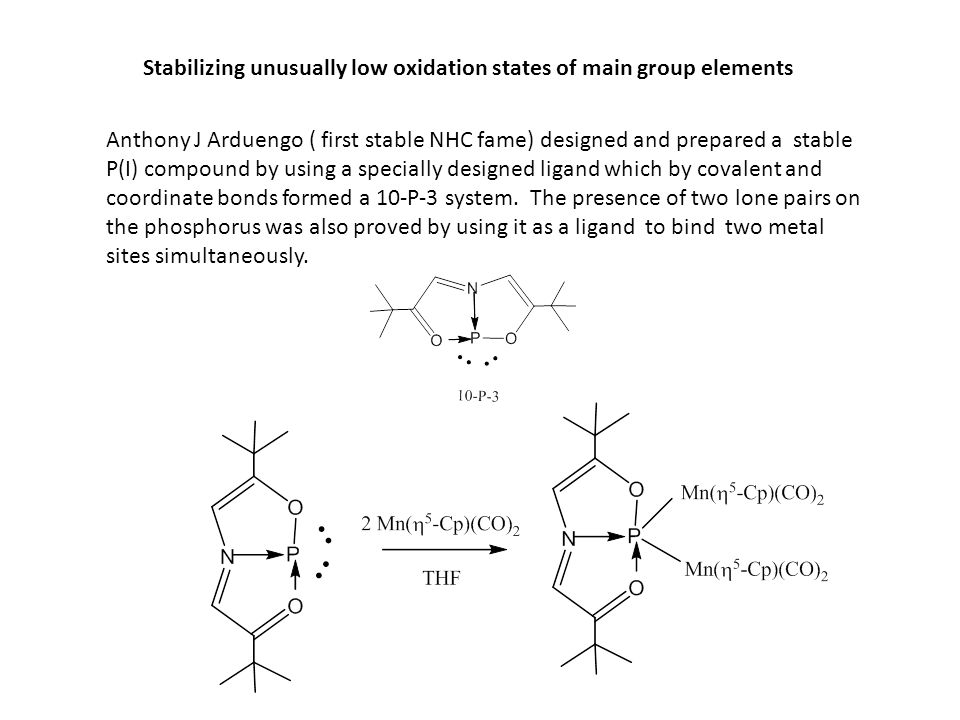 Stabilizing unusually low oxidation states of main group elements