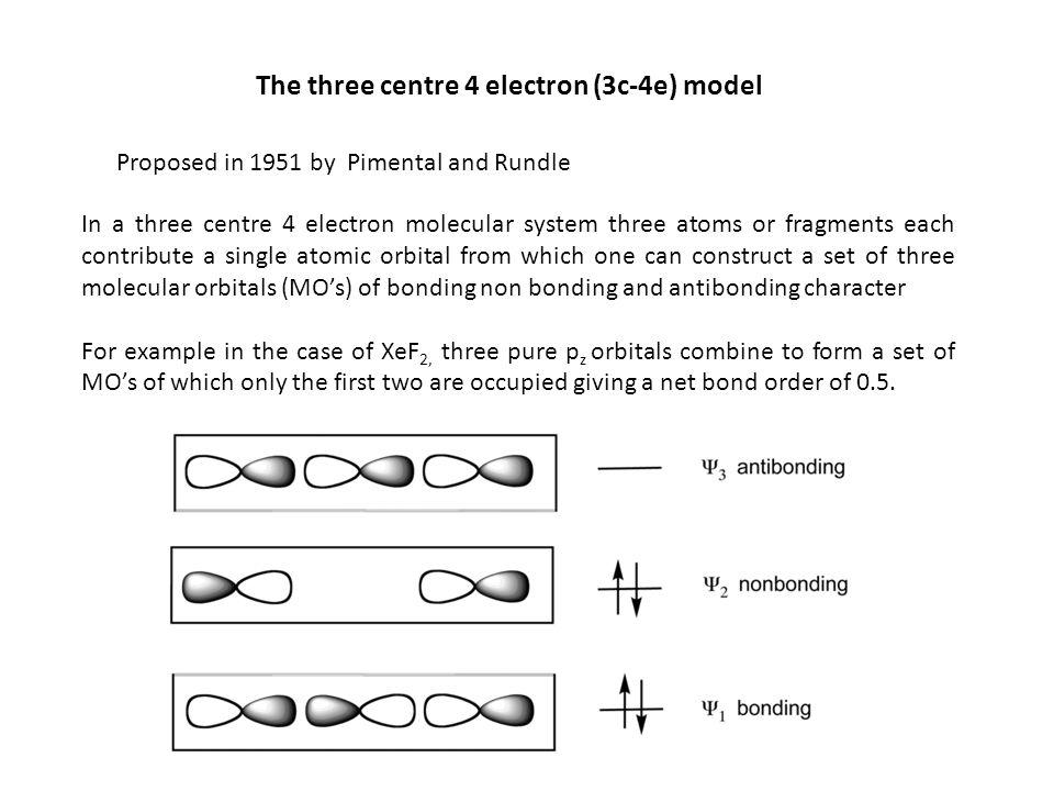 The three centre 4 electron (3c-4e) model