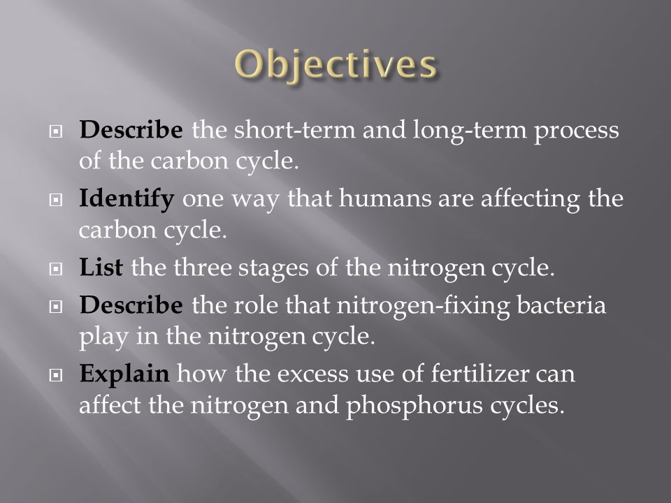 Objectives Describe the short-term and long-term process of the carbon cycle. Identify one way that humans are affecting the carbon cycle.