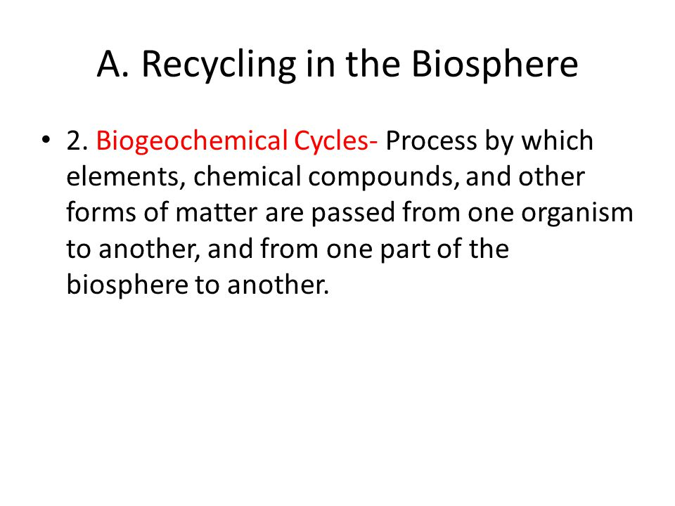 A. Recycling in the Biosphere