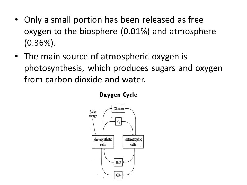 Only a small portion has been released as free oxygen to the biosphere (0.01%) and atmosphere (0.36%).
