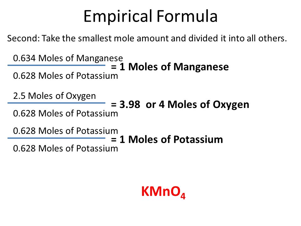 Empirical Formula KMnO4 = 1 Moles of Manganese