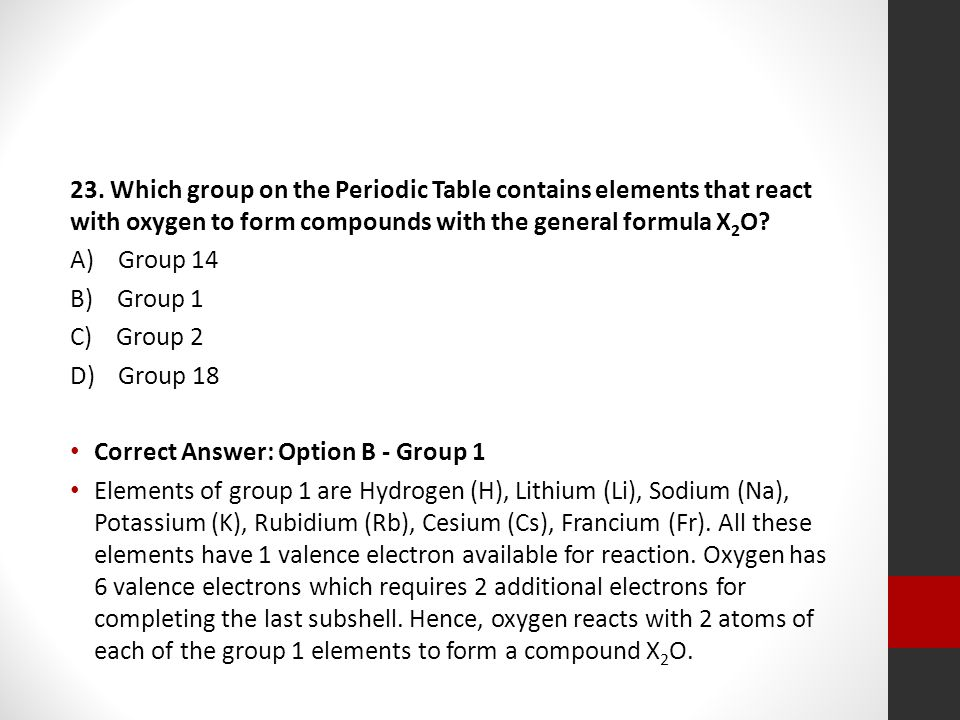 The periodic table regents review ppt video online download which group on the periodic table contains elements that react with oxygen to form urtaz Gallery