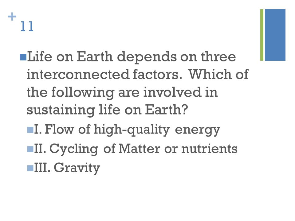 11 Life on Earth depends on three interconnected factors. Which of the following are involved in sustaining life on Earth