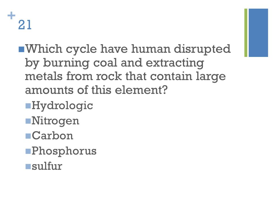 21 Which cycle have human disrupted by burning coal and extracting metals from rock that contain large amounts of this element