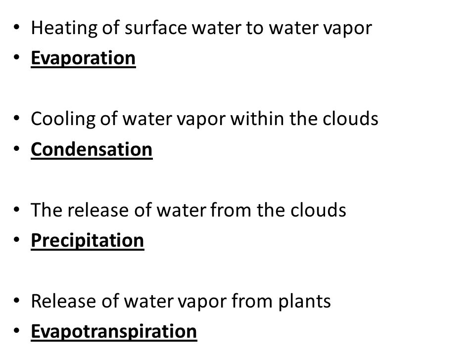 Heating of surface water to water vapor