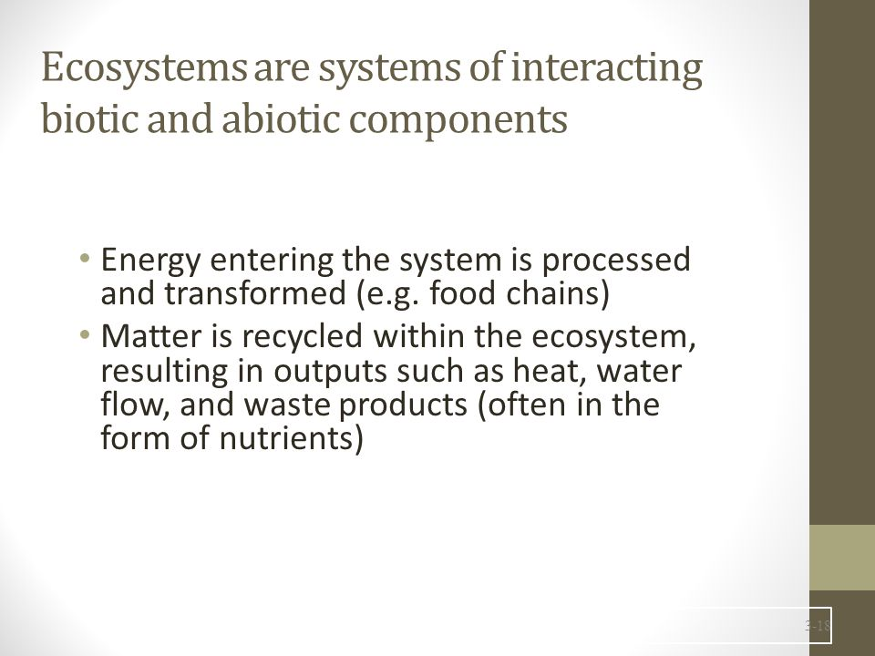 Ecosystems are systems of interacting biotic and abiotic components