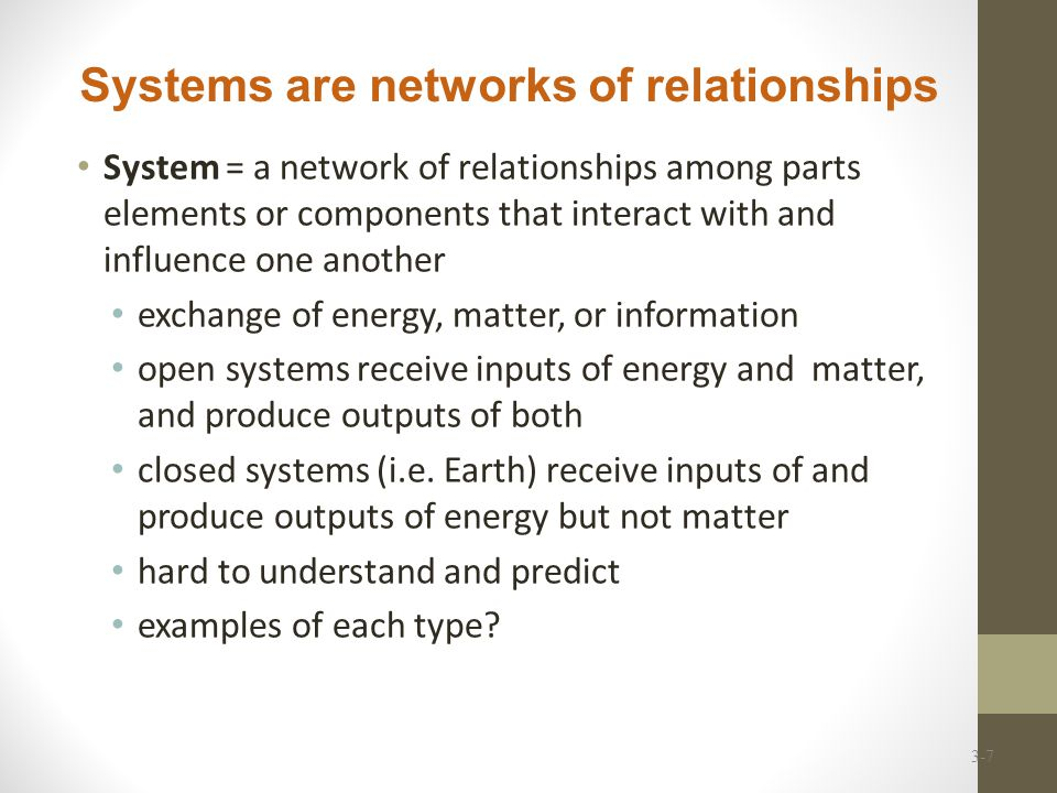 Systems are networks of relationships