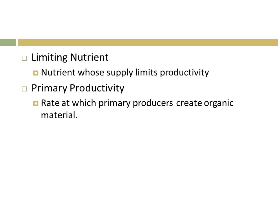 Limiting Nutrient Primary Productivity