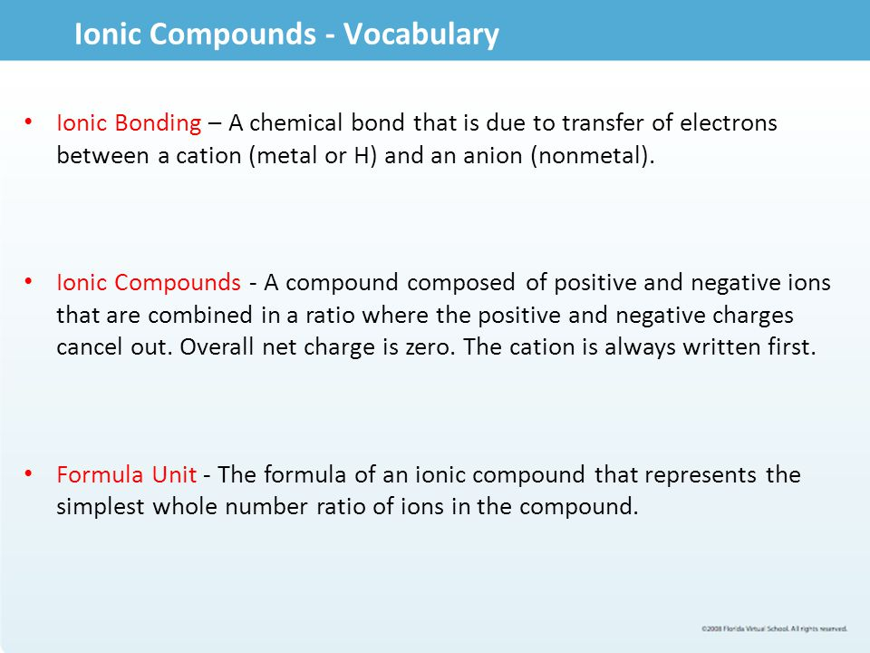 Ionic Compounds - Vocabulary
