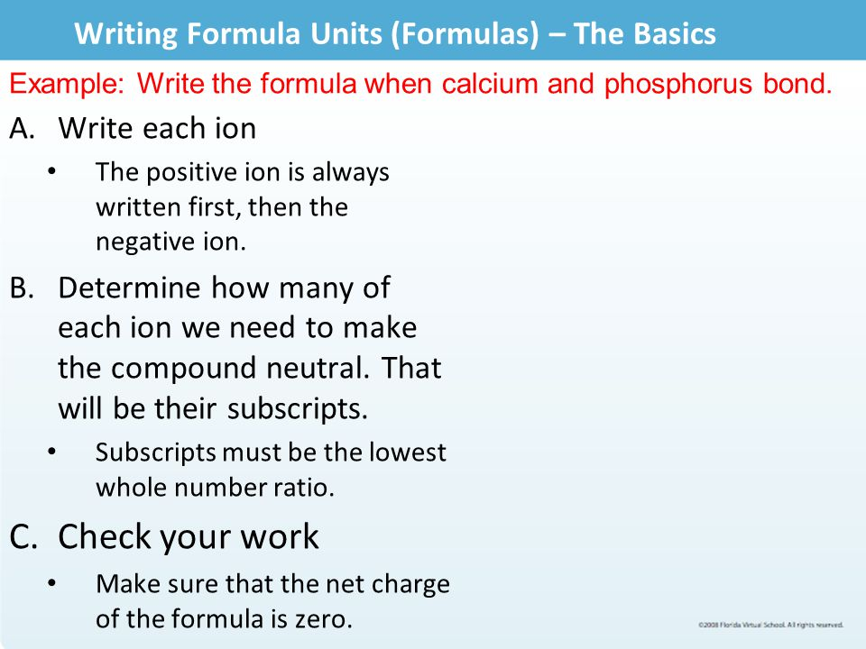 Writing Formula Units (Formulas) – The Basics