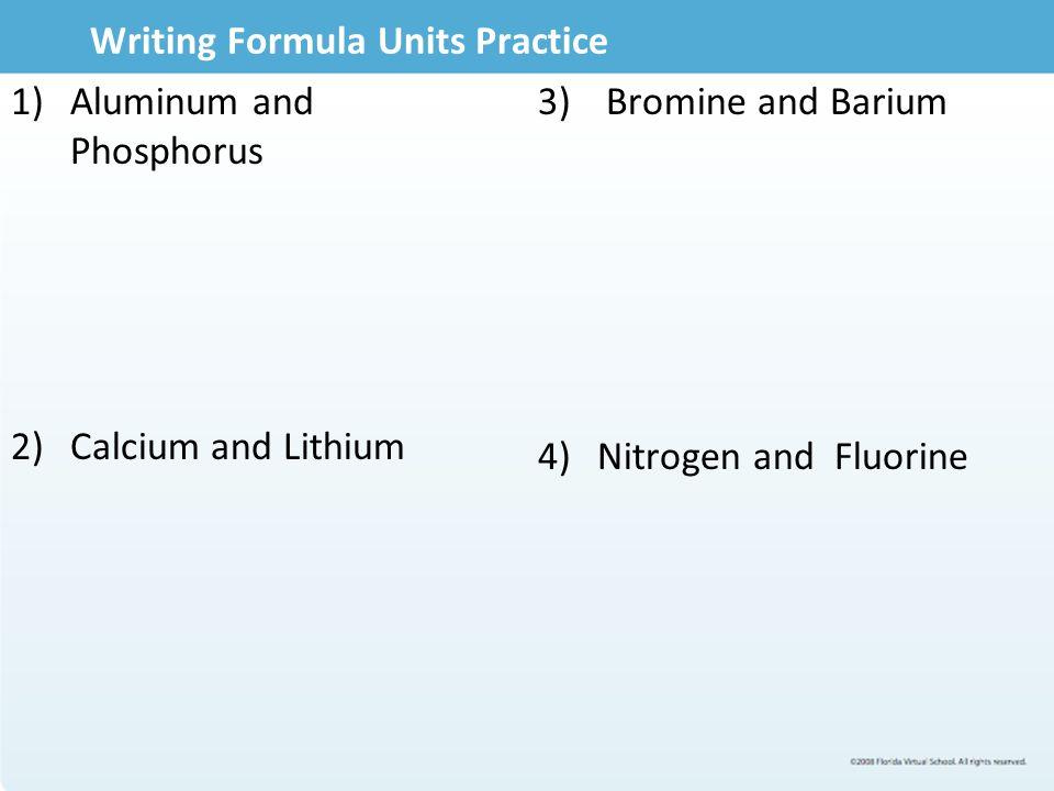 Writing Formula Units Practice