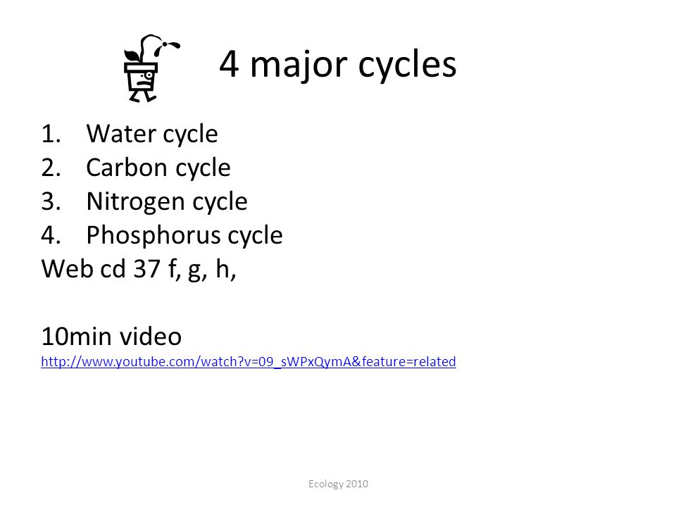4 major cycles Water cycle Carbon cycle Nitrogen cycle