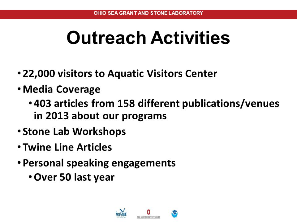 Outreach Activities 22,000 visitors to Aquatic Visitors Center