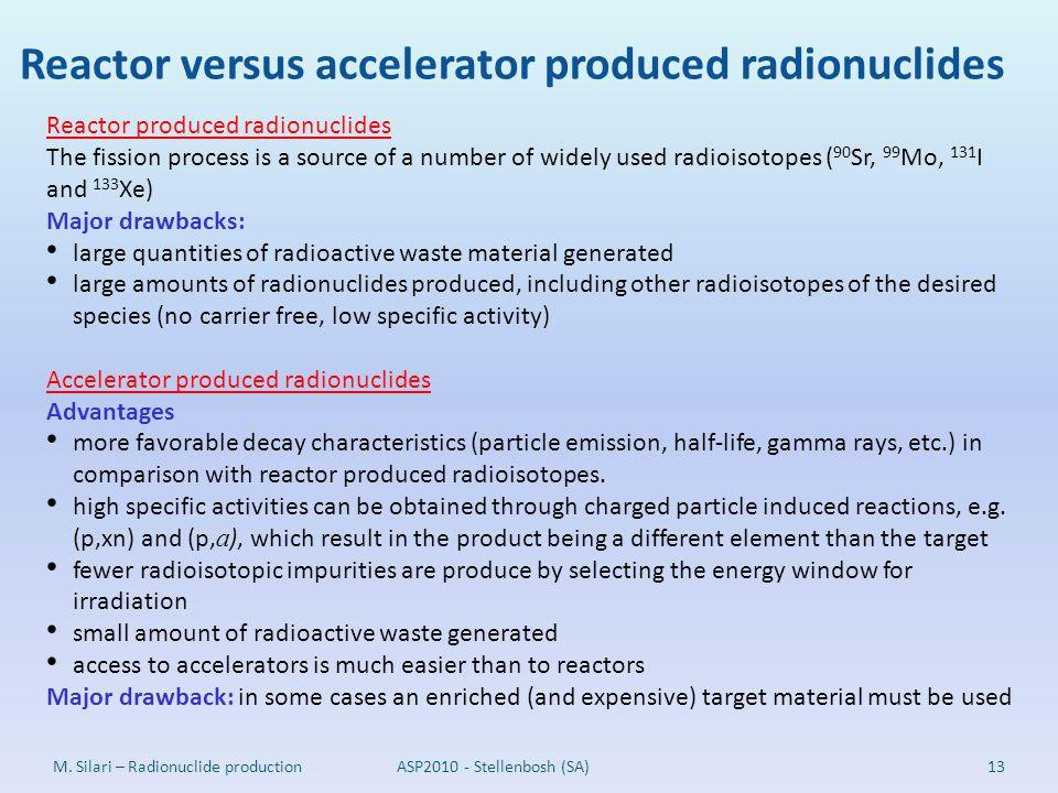 Reactor versus accelerator produced radionuclides
