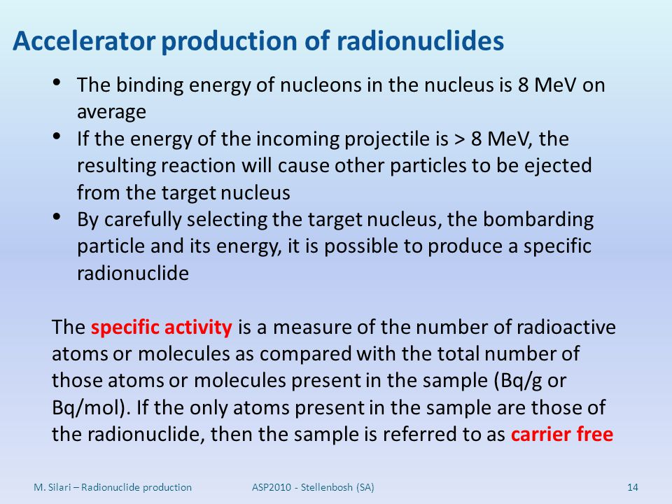 Accelerator production of radionuclides