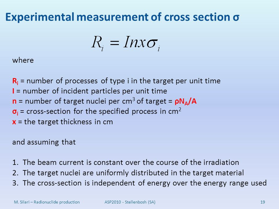 Experimental measurement of cross section σ