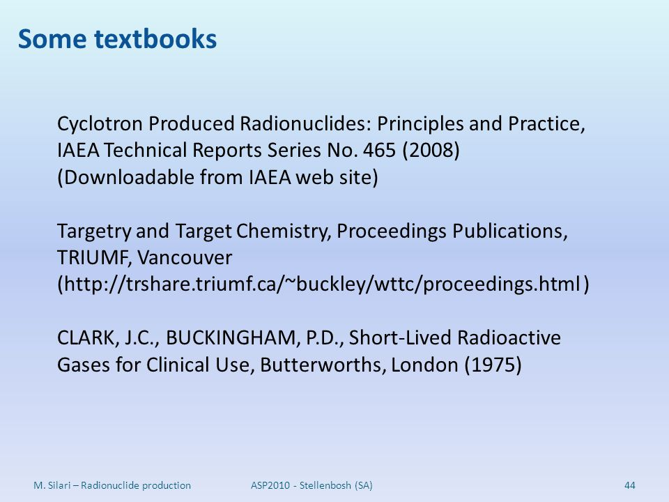Some textbooks Cyclotron Produced Radionuclides: Principles and Practice, IAEA Technical Reports Series No. 465 (2008)