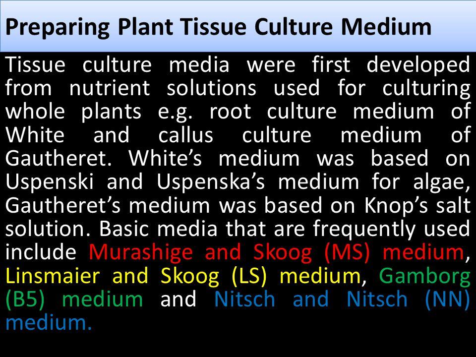 Preparing Plant Tissue Culture Medium