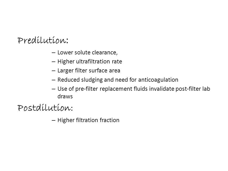 Predilution: Postdilution: Lower solute clearance,