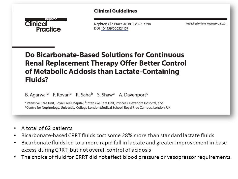 A total of 62 patients Bicarbonate-based CRRT fluids cost some 28% more than standard lactate fluids.