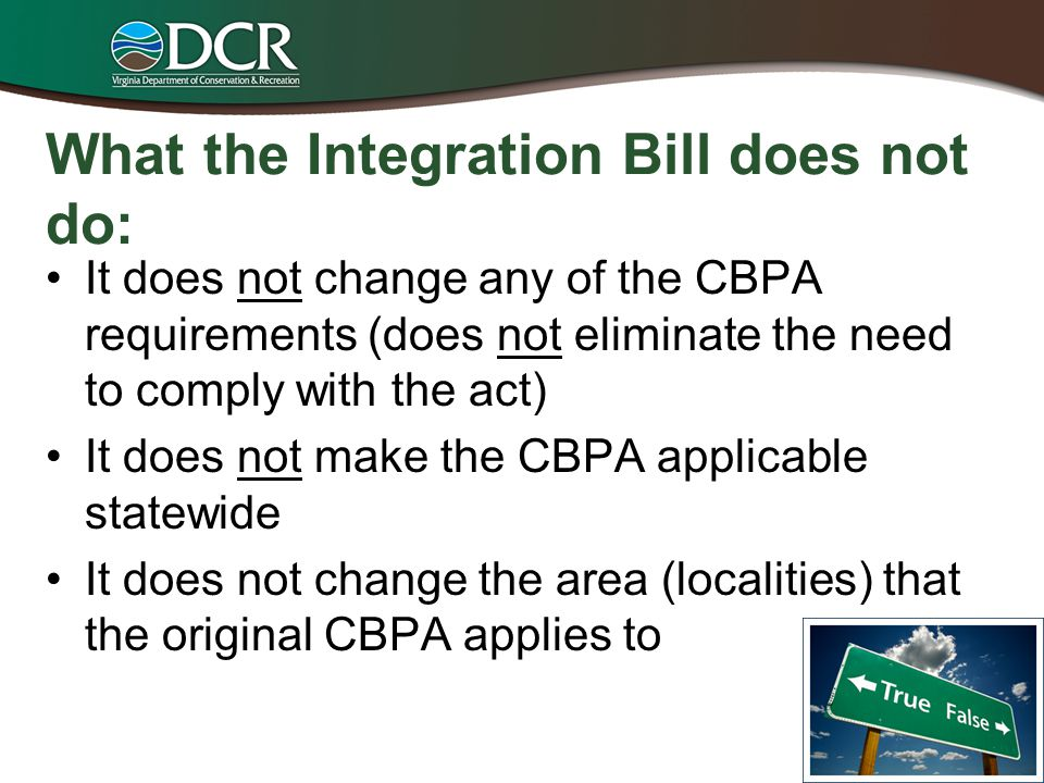 What the Integration Bill does not do: