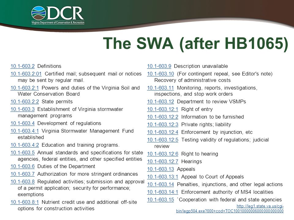 The SWA (after HB1065) 10.1-603.2 Definitions