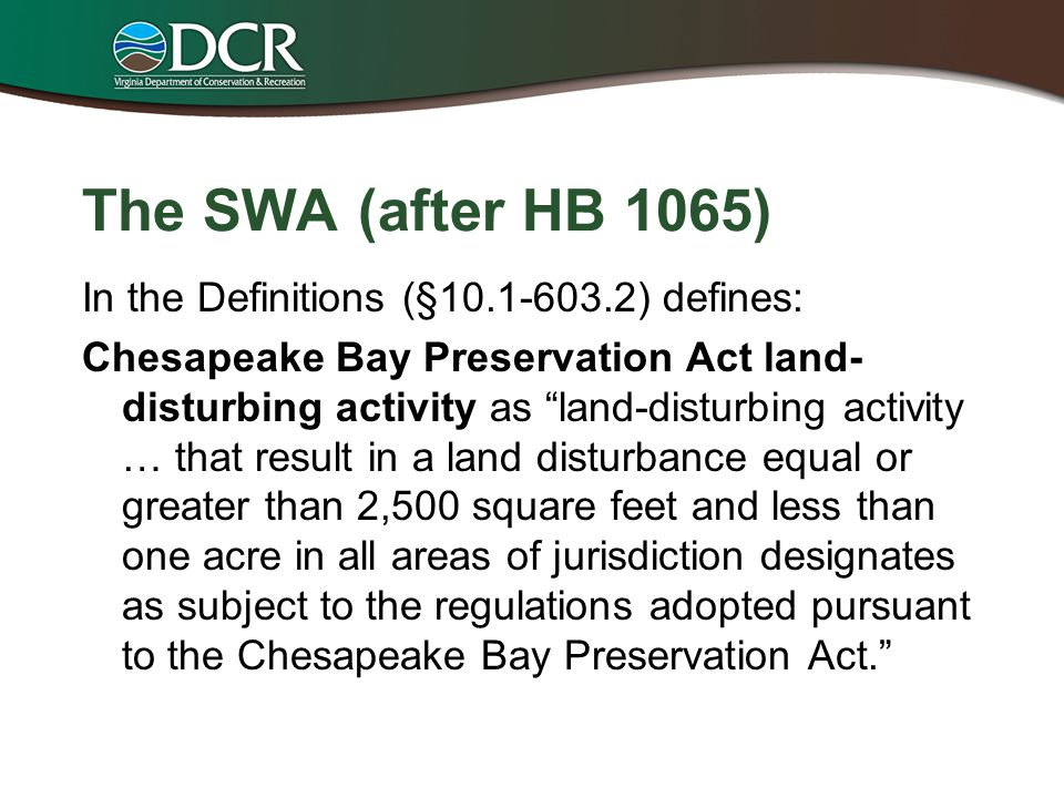 The SWA (after HB 1065)