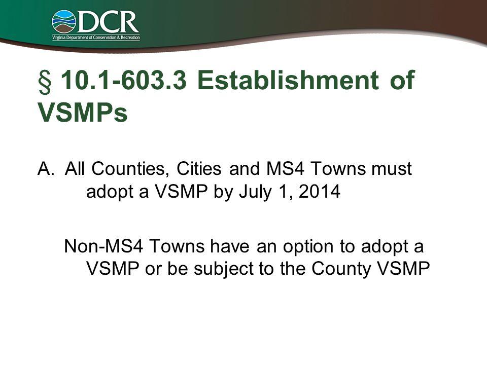 § 10.1-603.3 Establishment of VSMPs
