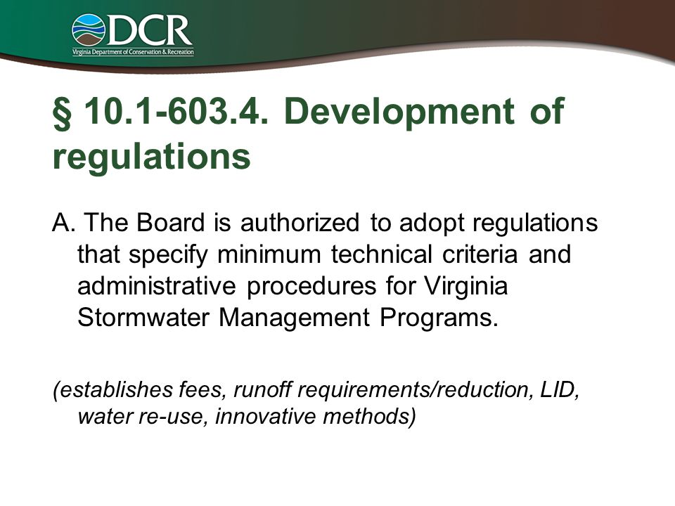 § 10.1-603.4. Development of regulations