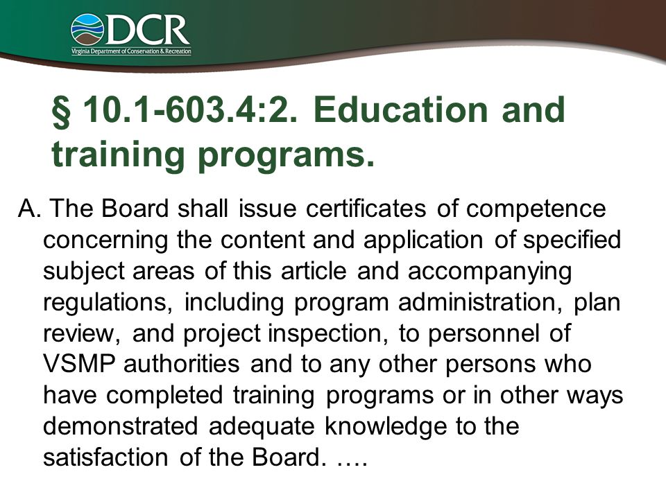 § 10.1-603.4:2. Education and training programs.