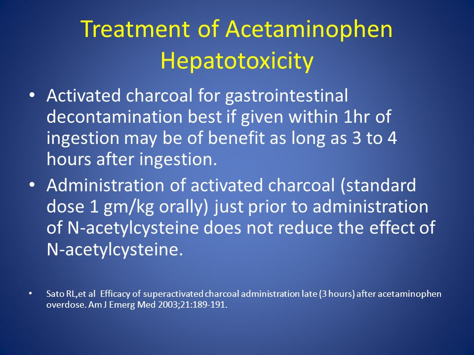 Treatment of Acetaminophen Hepatotoxicity