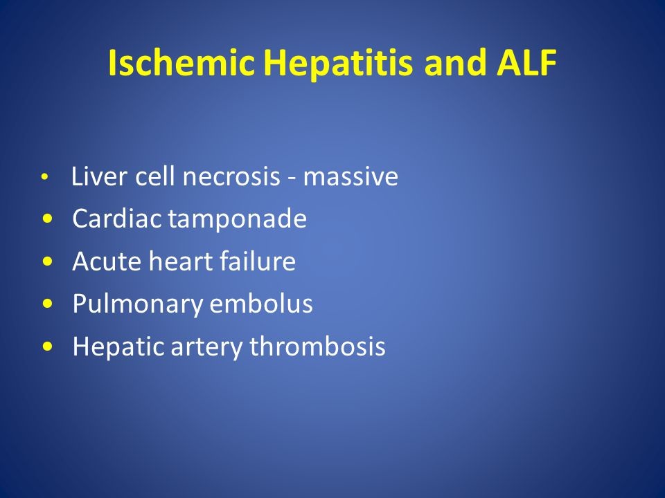 Ischemic Hepatitis and ALF