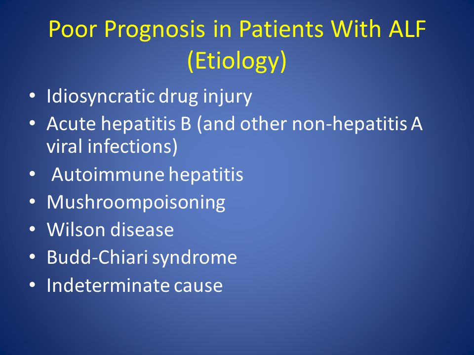 Poor Prognosis in Patients With ALF (Etiology)