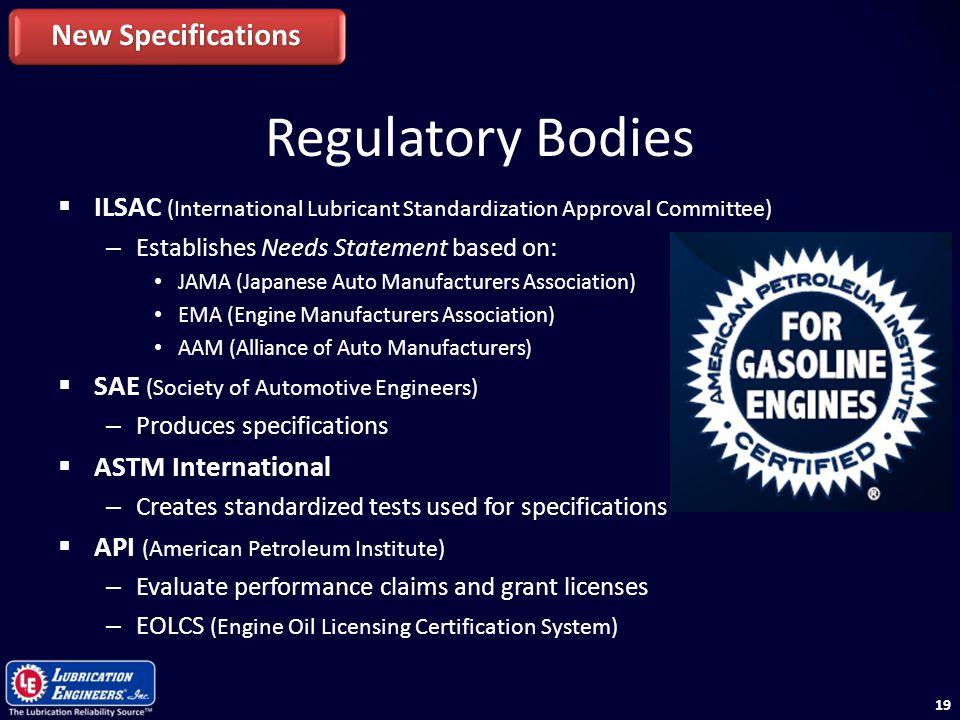 Regulatory Bodies New Specifications