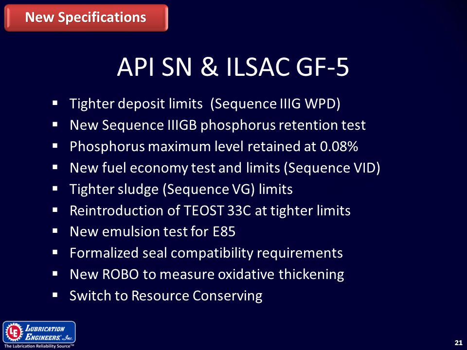 API SN & ILSAC GF-5 New Specifications