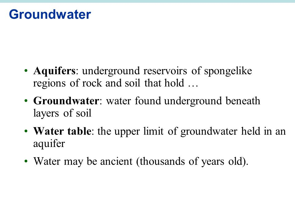 Groundwater Aquifers: underground reservoirs of spongelike regions of rock and soil that hold …