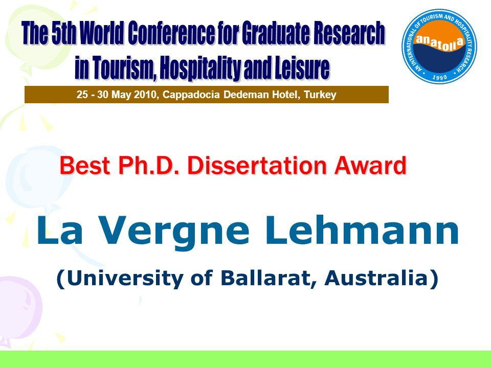 La Vergne Lehmann Best Ph.D. Dissertation Award