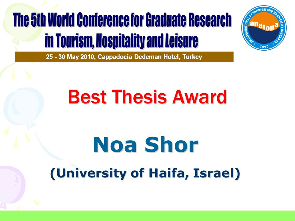 Best Thesis Award Noa Shor