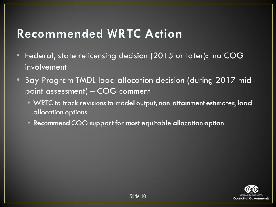 Recommended WRTC Action