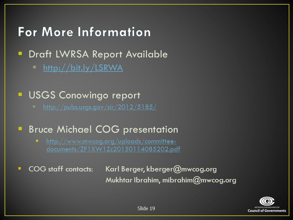 For More Information Draft LWRSA Report Available