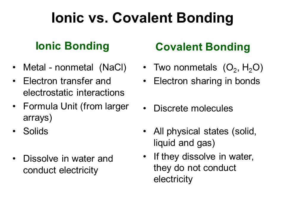 Ionic vs. Covalent Bonding