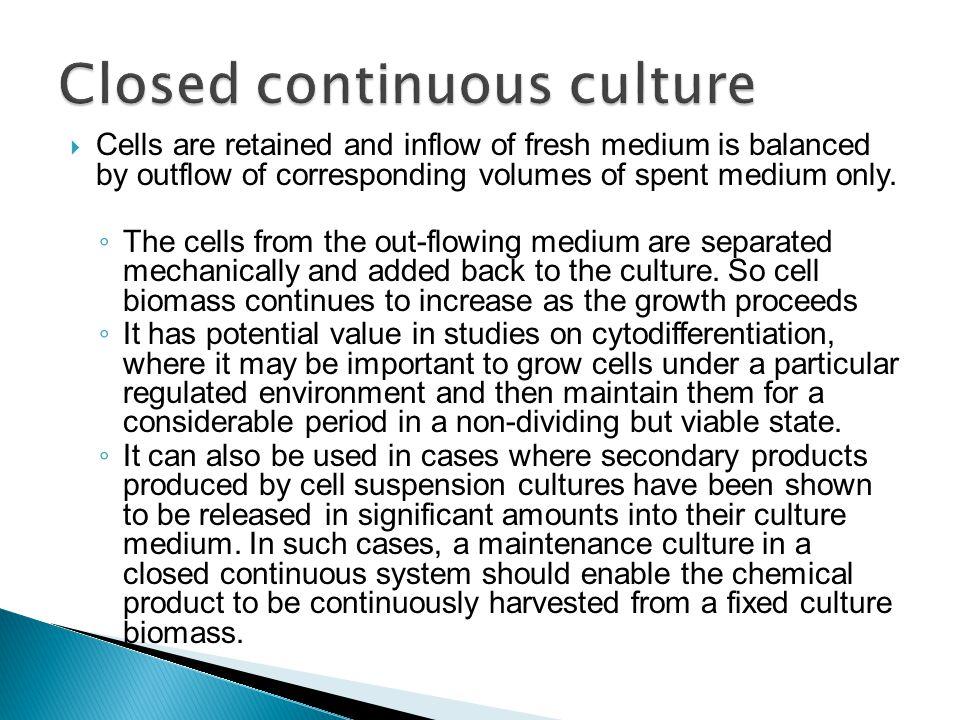 Closed continuous culture