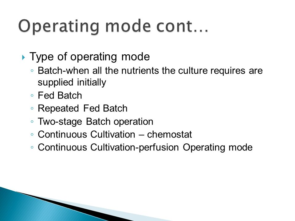Operating mode cont… Type of operating mode