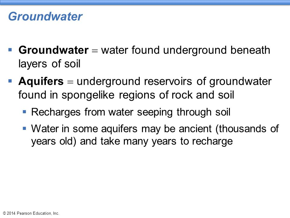 Groundwater Groundwater = water found underground beneath layers of soil.