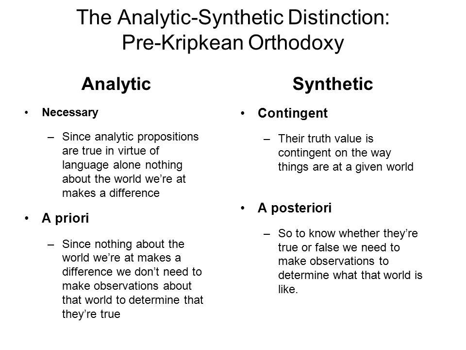 The Analytic-Synthetic Distinction: Pre-Kripkean Orthodoxy