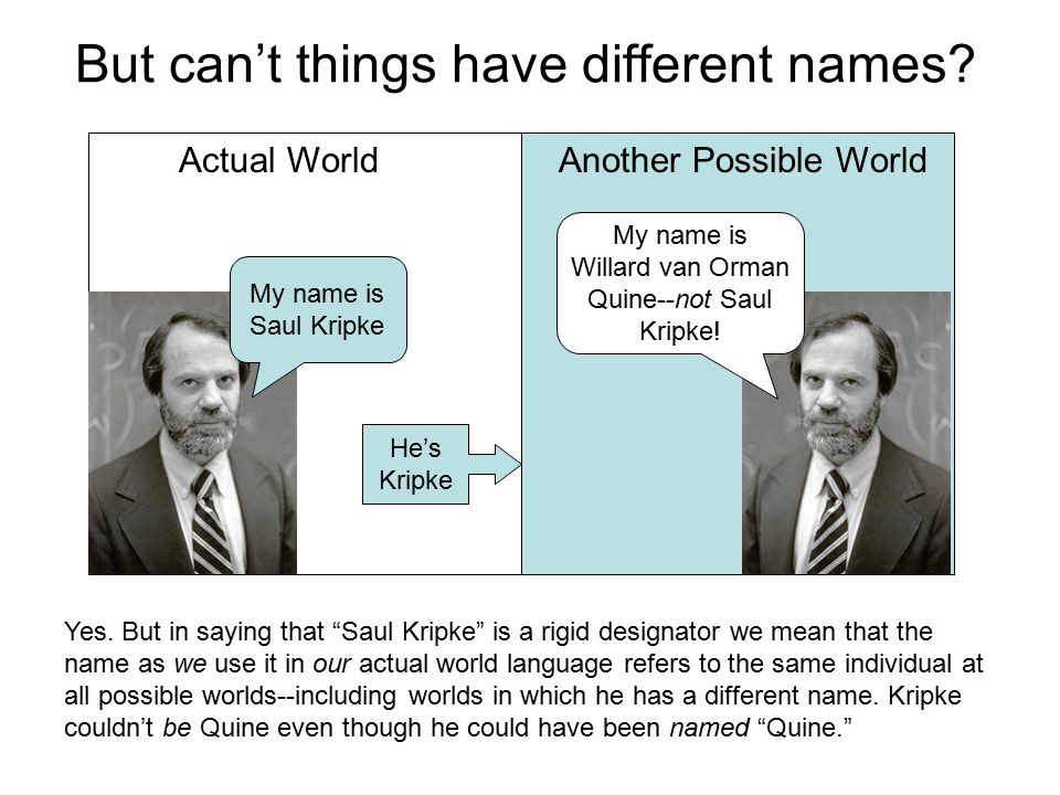 But can't things have different names