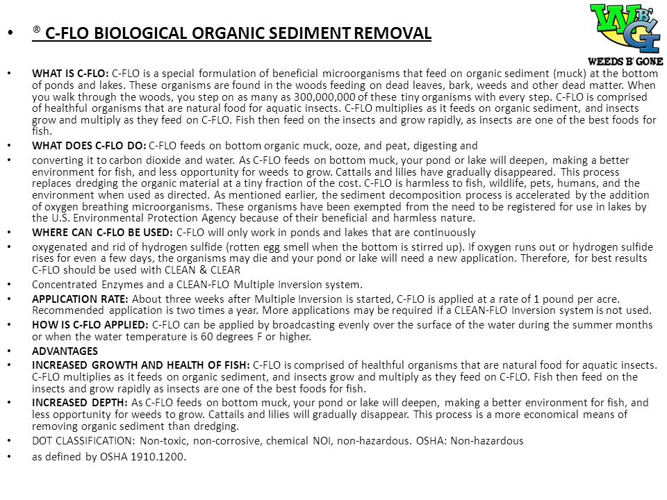® C-FLO BIOLOGICAL ORGANIC SEDIMENT REMOVAL