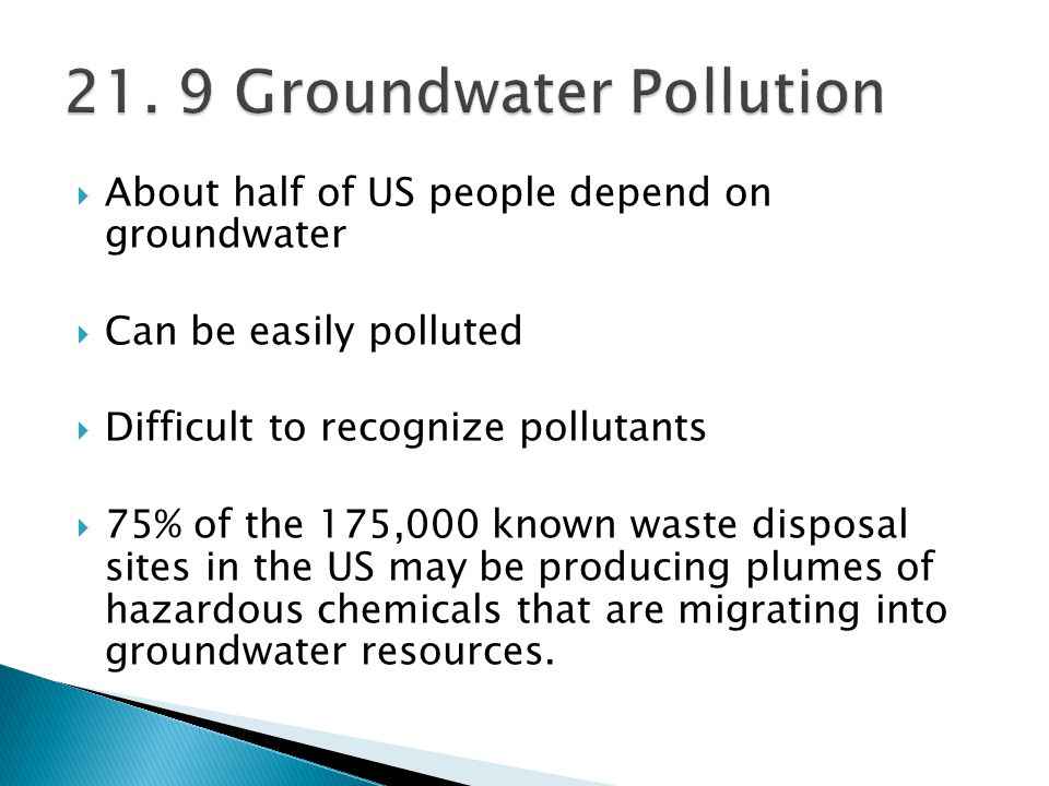 21. 9 Groundwater Pollution